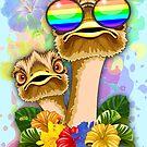 Ostrich Hawaii Fashion Funny Dudes by BluedarkArt