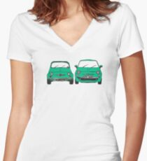 Fiat 500 old and new Women's Fitted V-Neck T-Shirt