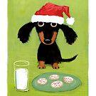 Doxie Clause Santa Dachshund by Jenn Inashvili