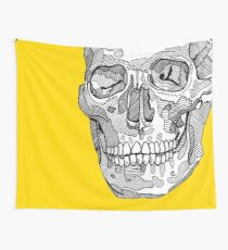 SKULL LINE ART - YELLOW BACKGROUND Wall Tapestry