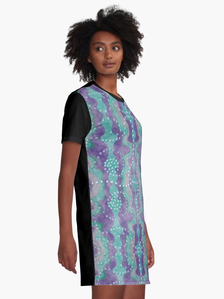 Alternative Ansicht von Teal und Lila Boho Perlen T-Shirt Kleid