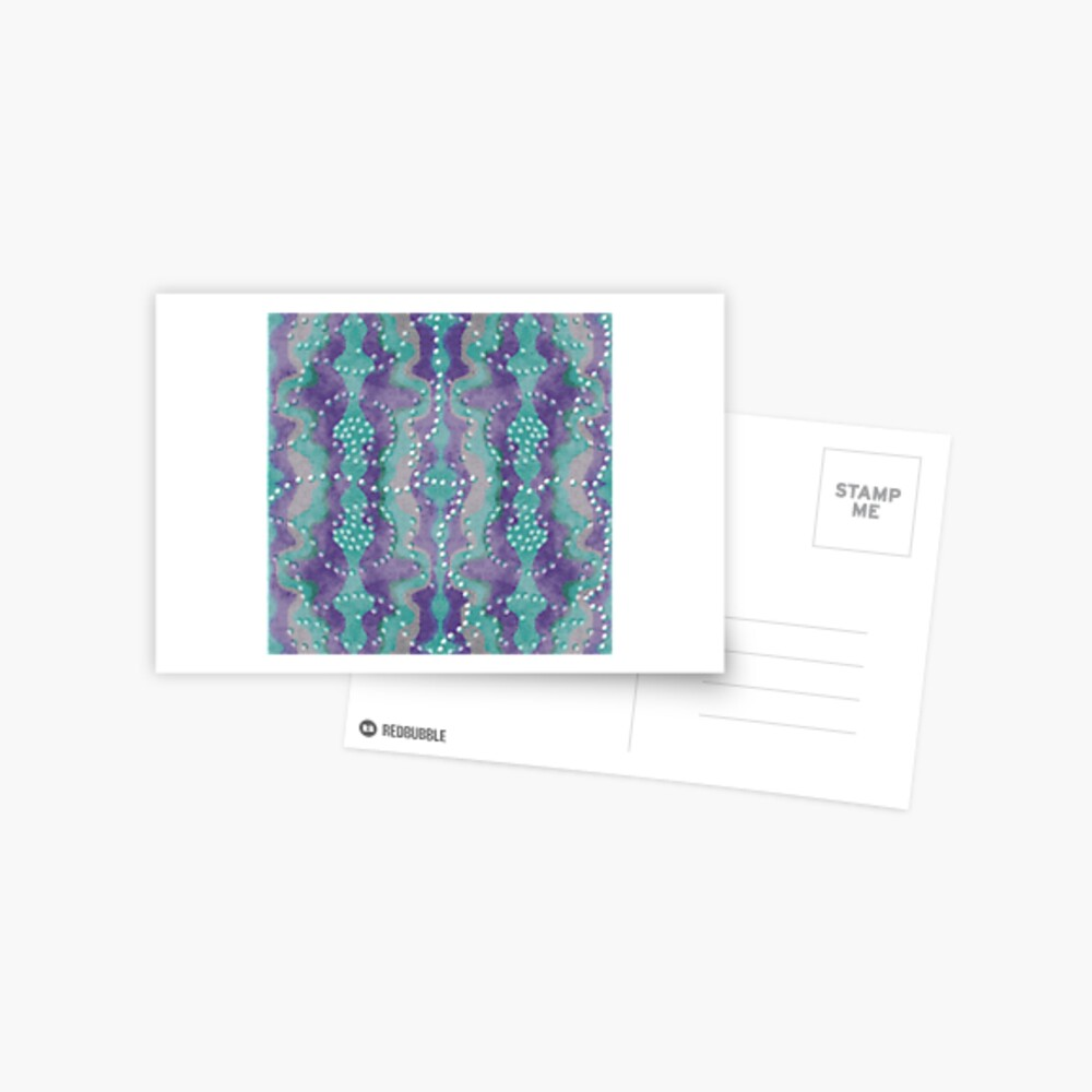 Teal und Lila Boho Perlen Postkarte