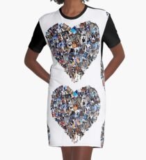 L.O.V.E MJJ Mosaic Heart Graphic T-Shirt Dress