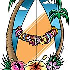 Surfendes hawaiisches Girlandent-shirt von Fangpunk