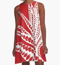 Red Polynesian Geometric Floral Chic Bird of Paradise Tribal Tattoo A-Line Dress