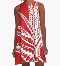 285cdc4fa Red Polynesian Geometric Floral Chic Bird of Paradise Tribal Tattoo A-Line  Dress