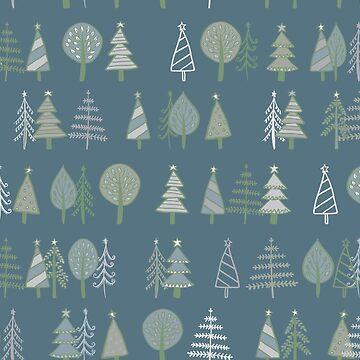 Gingerbread Trees - Grey - pretty winter pattern by Cecca Designs by Cecca-Designs