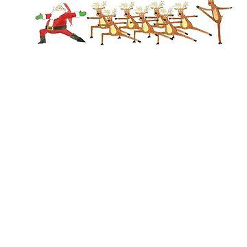 Christmas Yoga Shirt And Mug Santa And Reindeer by Galvanized