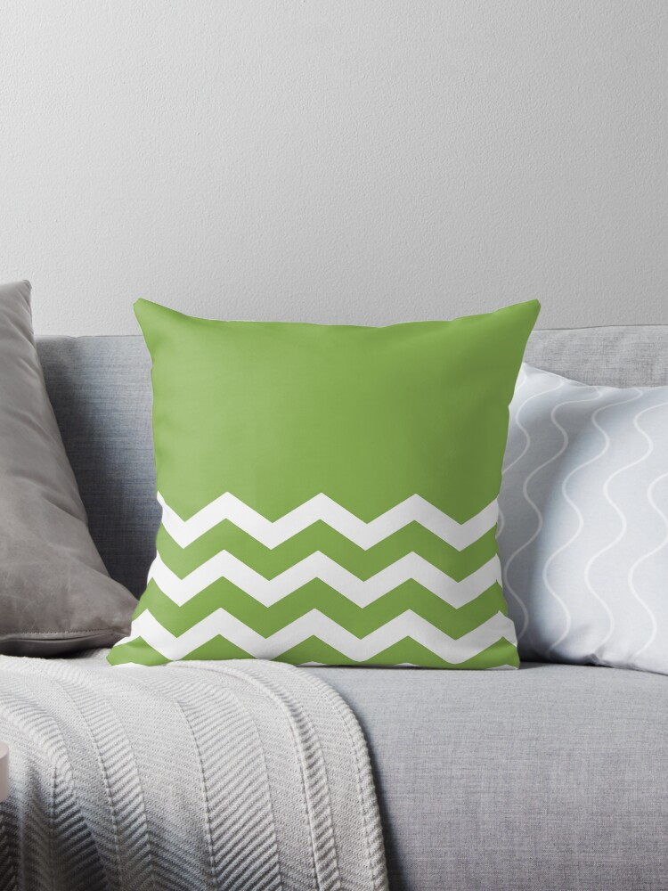 PANTONE COLOUR OF THE YEAR 2017 GREENERY PLAIN AND CHEVRON by ozcushionstoo
