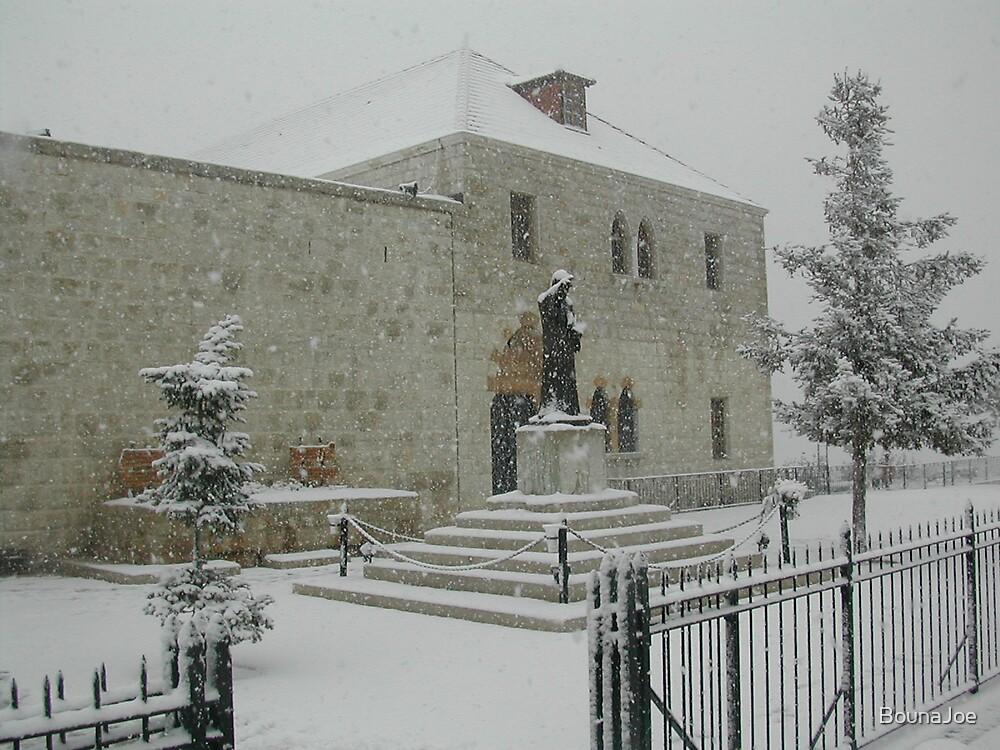 Snow at Saint Charbel Annaya by BounaJoe