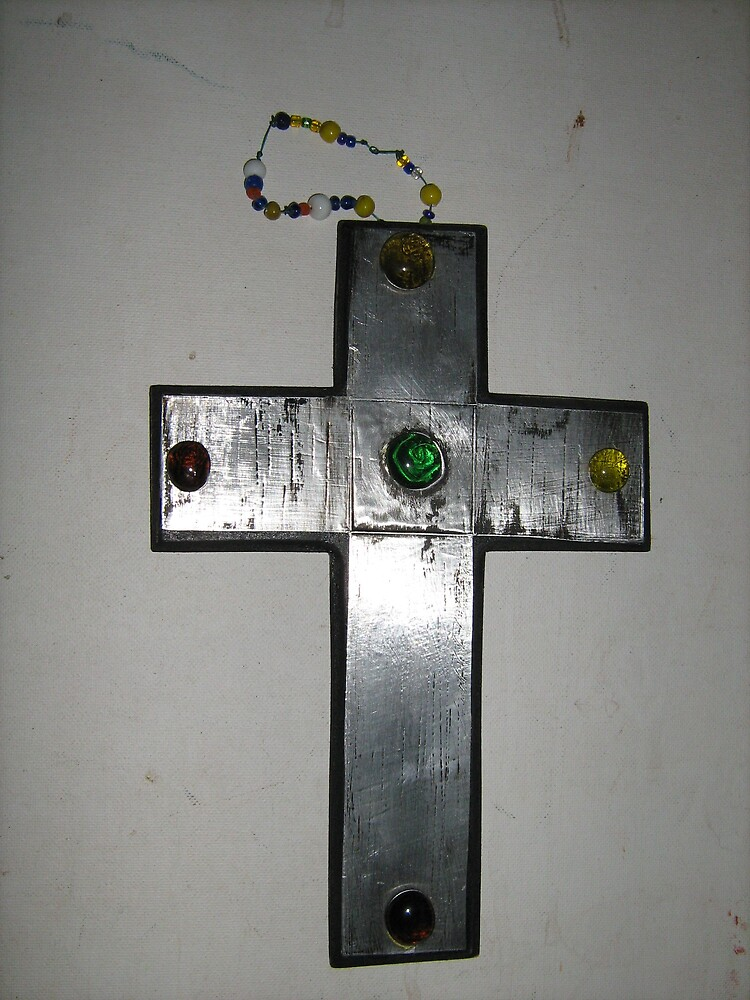 WOODEN CROSS WITH METAL FOIL by joolsea