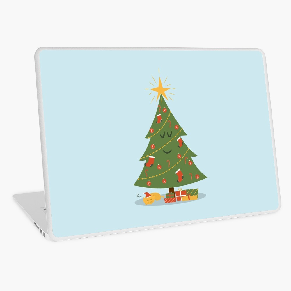 The Christmas Tree and The Cat Laptop Skin