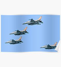 4 Israeli Air Force F-16 flying in formation Poster