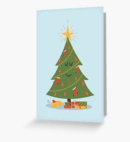 The Christmas Tree and The Cat Greeting Card