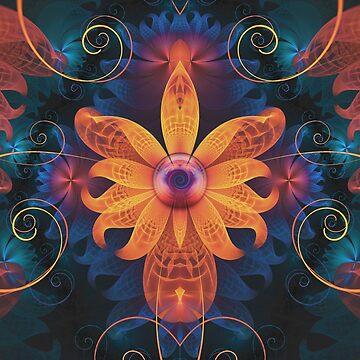 Beautiful Orange & Blue Fractal Angel Orchid Flower by jayaprime