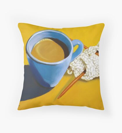 coffee and knitting Throw Pillow