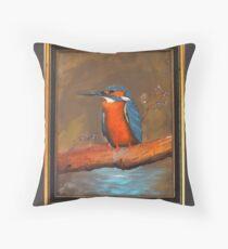 Kingfisher, original oilpainting, handmade by DiensDesign Throw Pillow