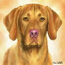 Painting of a Vizsla with a Light Brown Backgeound by ibadishi