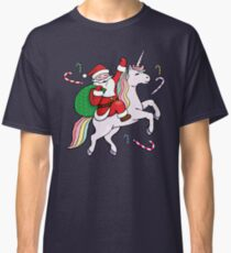 Santa Riding ein Einhorn Classic T-Shirt