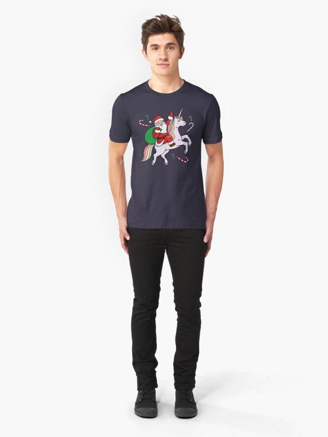 Alternative Ansicht von Santa Riding ein Einhorn Slim Fit T-Shirt