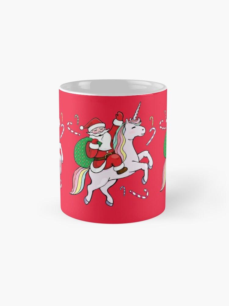 Alternative Ansicht von Santa Riding ein Einhorn Tasse