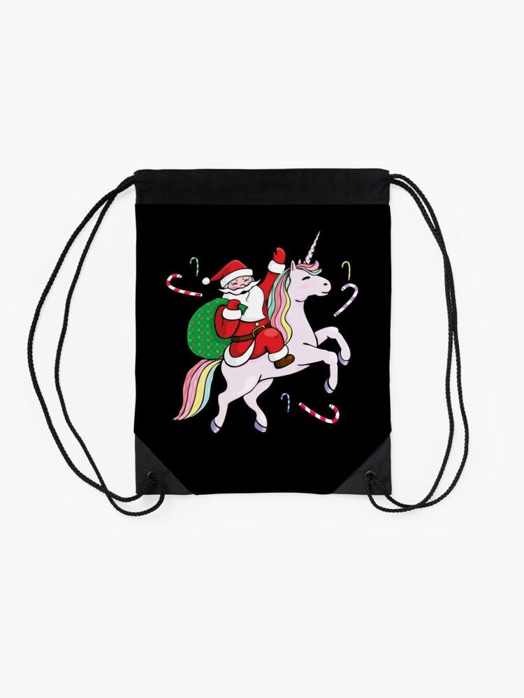 Alternative Ansicht von Santa Riding ein Einhorn Turnbeutel