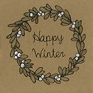 Happy Winter - Mistletoe wreath by Vicky Webb