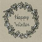 Happy Winter - Mistletoe wreath - Grey by Vicky Webb