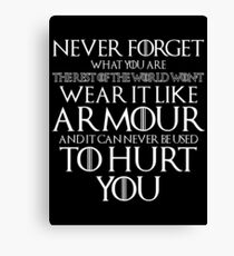 Never Forget Your Armour Canvas Print