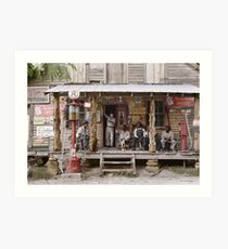 1939: Country store on dirt road. Sunday afternoon Art Print