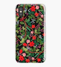 Christmas Floral Pattern Black iPhone Case/Skin
