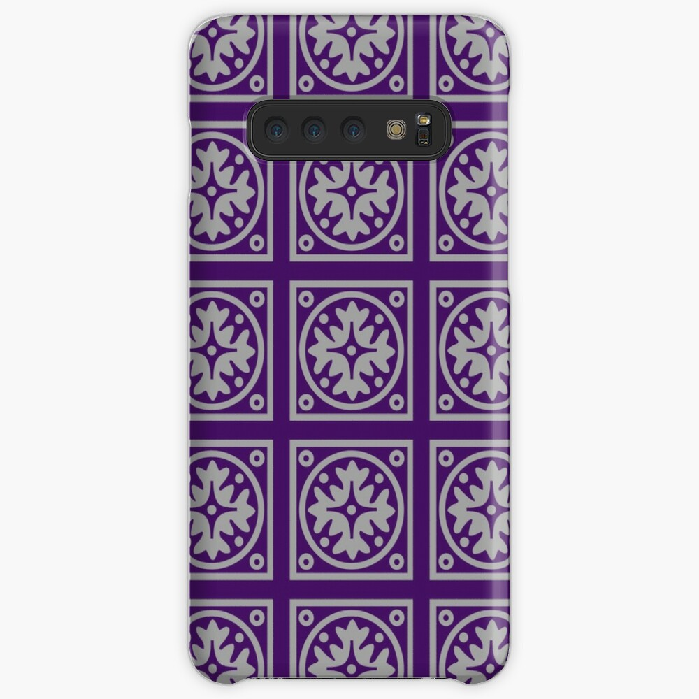Floral Tile Purple and Grey Repeat Seamless Pattern Case & Skin for Samsung Galaxy
