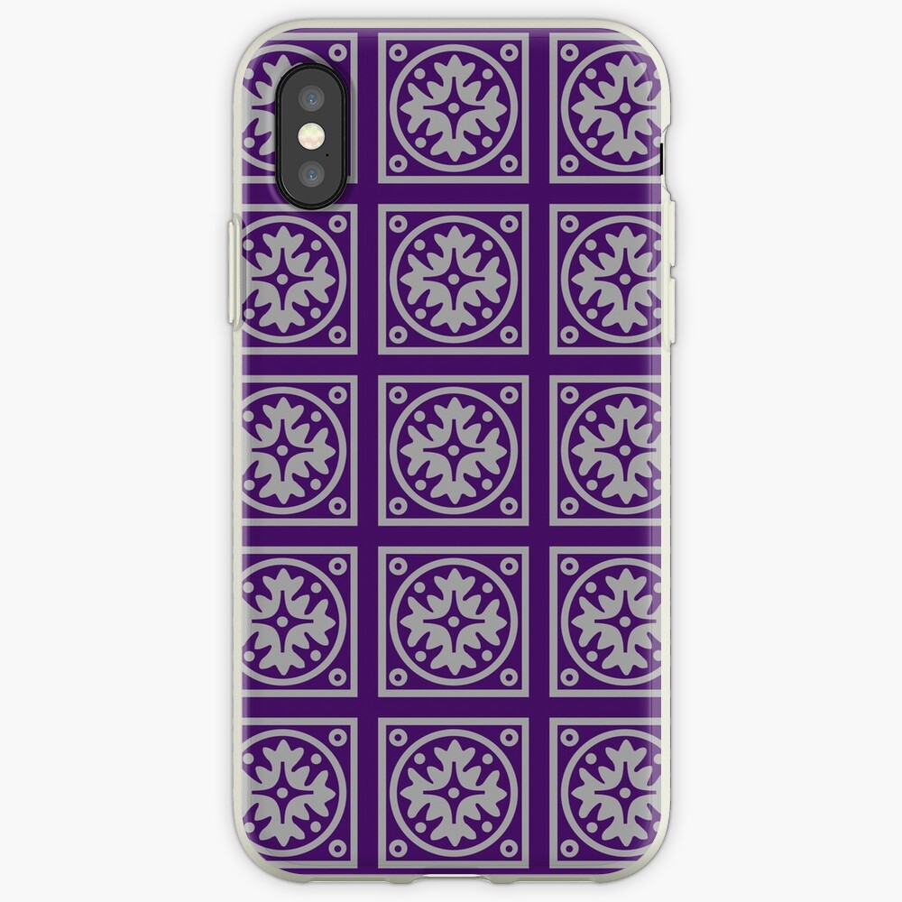 Floral Tile Purple and Grey Repeat Seamless Pattern iPhone Case & Cover