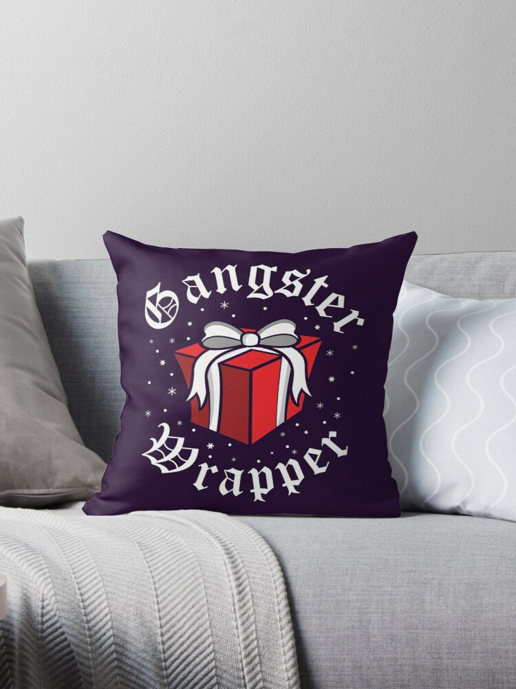 'Gangsta Wrapper' Throw Pillow by Charles Mac