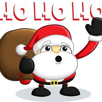 Cartoon Santa, Cute Christmas T-Shirt by rideawave