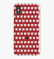 Cross-stitch white sheeps and one unique black sheep iPhone Case/Skin