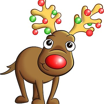 Cartoon Reindeer, Funny Christmas T-Shirt by rideawave