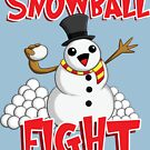 Snowball Fight Funny Christmas T-Shirt by rideawave