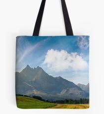 rural fields near Tatra Mountains in summer time Tote Bag