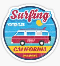 Surfing winter club California dreaming Sticker