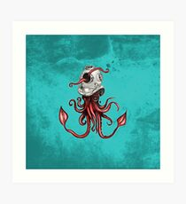 Squid with Diving Helmet Art Print