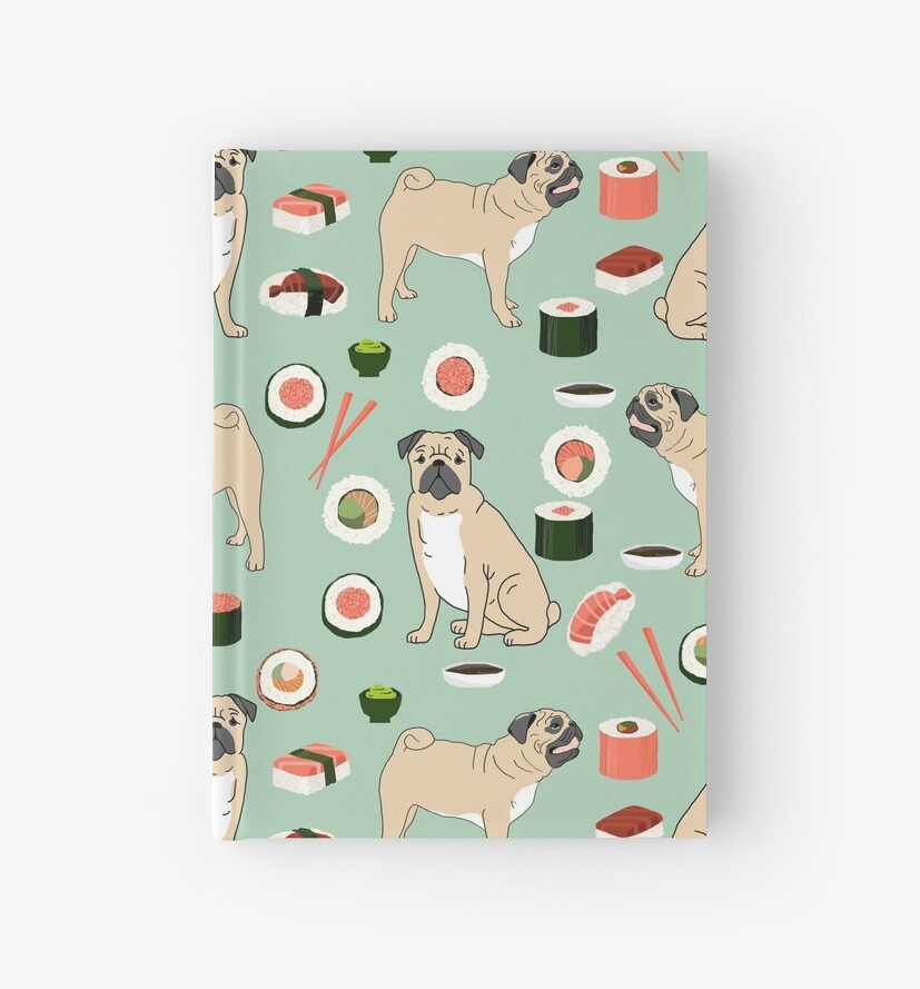 Pug sushi pattern dog breed cute pet art pet friendly gifts pugs
