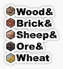 Wood & Brick & Sheep & Ore & Wheat Settlers of Catan Ampersand Design  Sticker