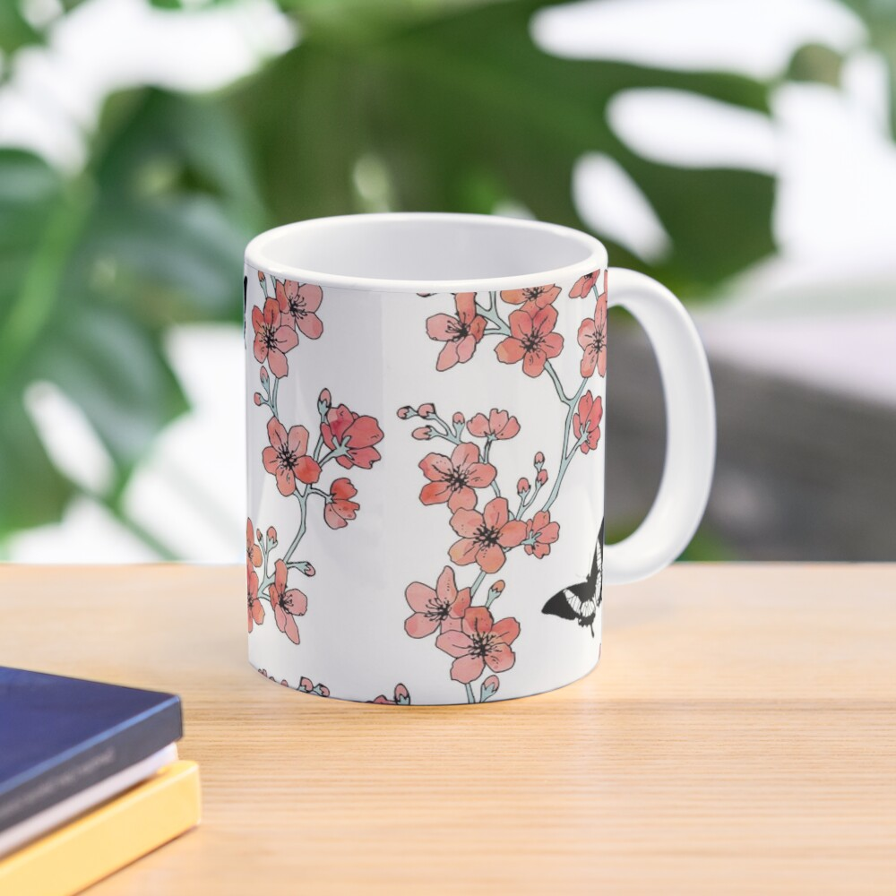 Sakura butterflies in peach pink watercolor Mug