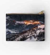 spot of morning light on hillside with forest Studio Pouch