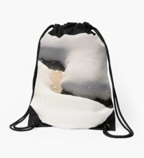 fancy snow layout on the shore of brook Drawstring Bag
