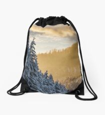 snowy spruce forest at gorgeous sunset Drawstring Bag