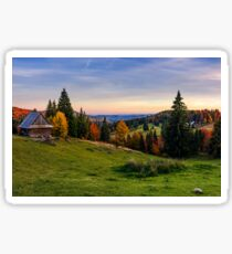 woodshed and trees on hillside meadow at sunset Sticker
