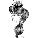 Gibson girl with ship on her head by Rosa Laguna