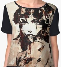 Ochre and rain (based on a real painting) Women's Chiffon Top